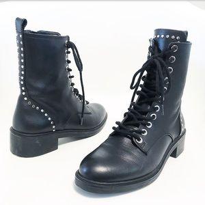 Zara. Studded leather moto boots. Size 6